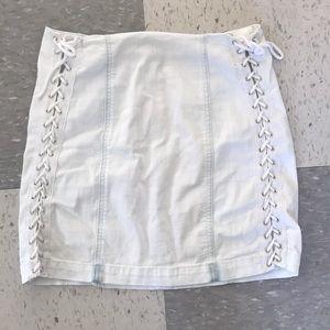 Carmar White Denim Lace-Up Skirt